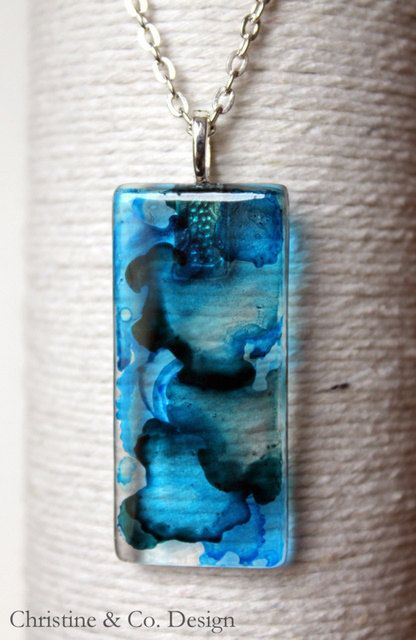 Alcohol Inks Glass Pendant