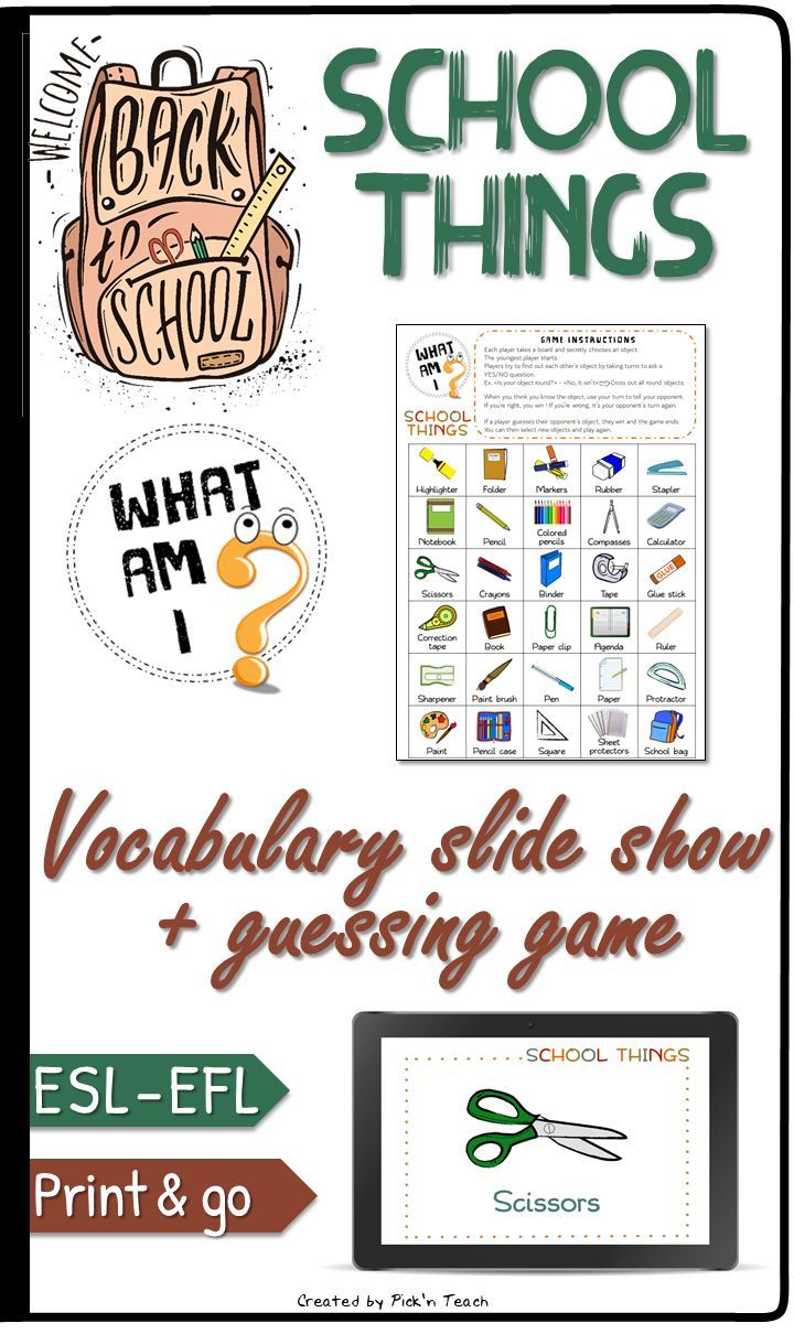 SCHOOL THINGS – Vocabulary QUIZ and guessing GAME – Again to highschool