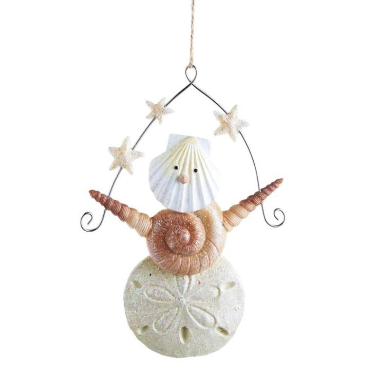 Seashell Snowman Christmas OrnamentCrafts Ideas, Christmas Crafts, Seashells Ornaments, Seashells Crafts, Sea Shells Christmas Ornaments, Seashells Christmas, Seashells Sandman, Snowman Christmas Ornaments, Seashells Snowman