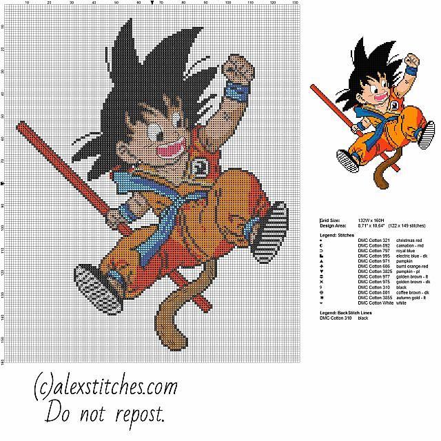 Goku kid Dragon Ball character free cross stitch pattern - free cross stitch patterns by Alex