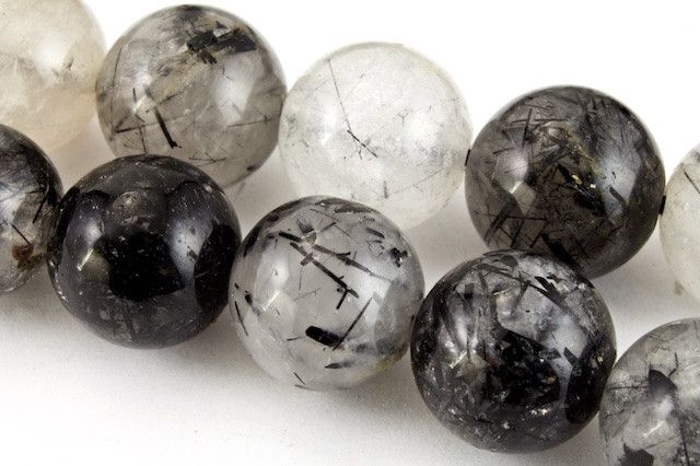 10mm Tourmalinated Quartz Round Polished Bead