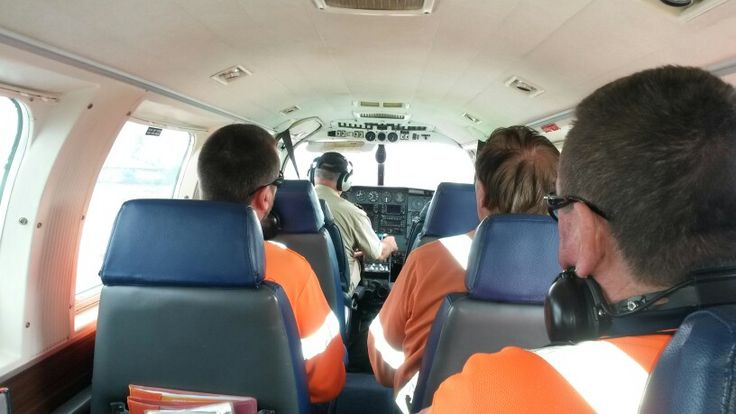 My work mates and the pilot heading for home