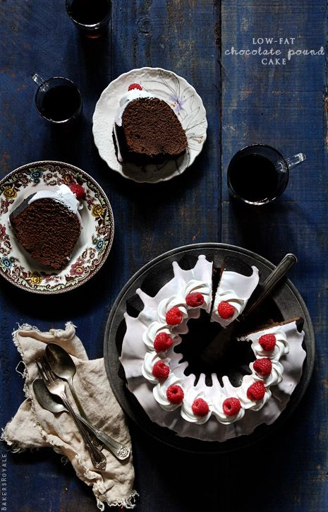 """Low-fat Chocolate Pound Cake via Bakers Royale (with 3 sticks of butter in it, I'd take the moniker """"low-fat"""" with a grain of salt...)"""