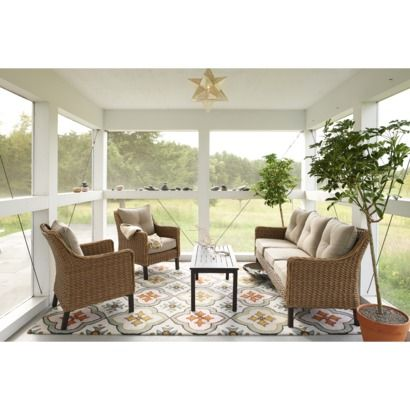Target/Recreating this Room: Perry Seagrass Wicker Patio Conversation Furniture Collection