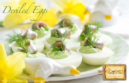 Anyone would make a dive for these delectable Deviled Eggs garnished with Daffodil.