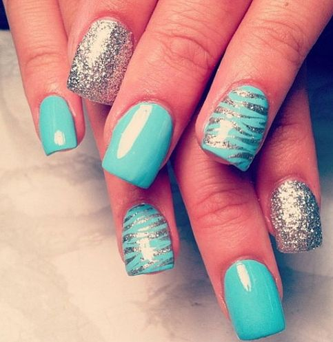 Silver zebra nail design. I've seen this sooo many times, and I've