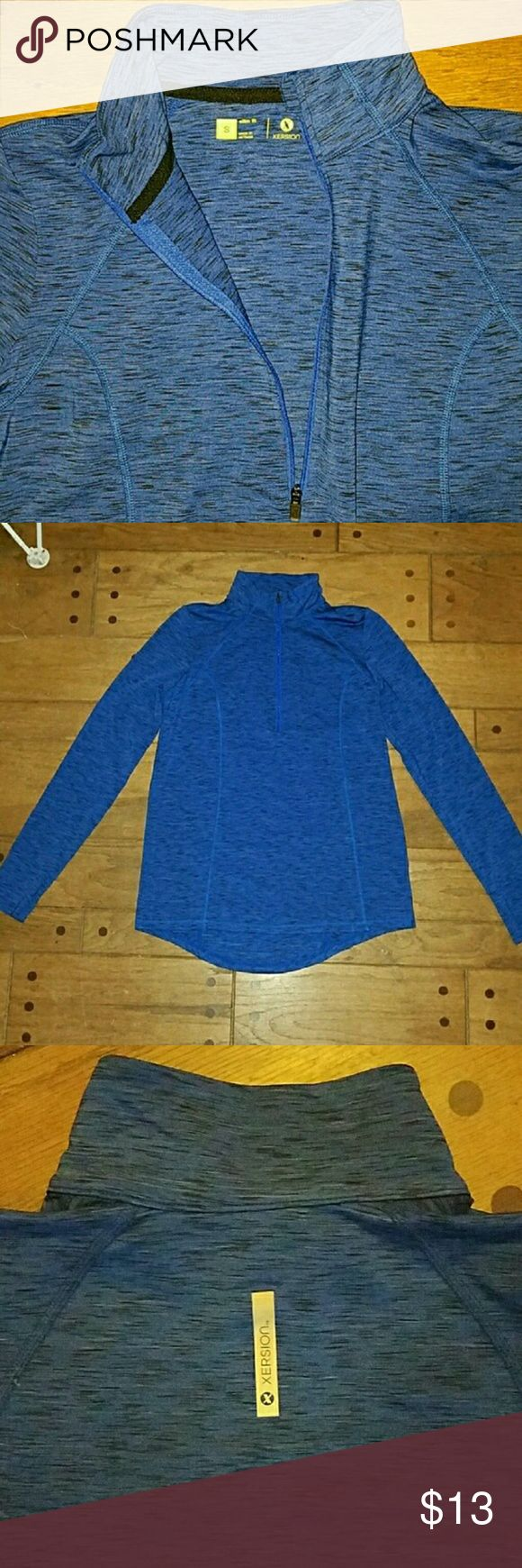 🌠3.99🌠Shipping NWOT Half-Zip Compression Sweater Style: Half-Zip complete with thumbholes Color: Heathered Blue Size: small but runs big. Can go up to a Medium!  Reposhing, too big on me ***all offers and/ or trades welcome for size small 4-6 Xersion Jackets & Coats