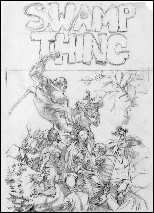"wonderful-strange: "" Bernie Wrightson, rough sketch for cover of Swamp Thing #5. """