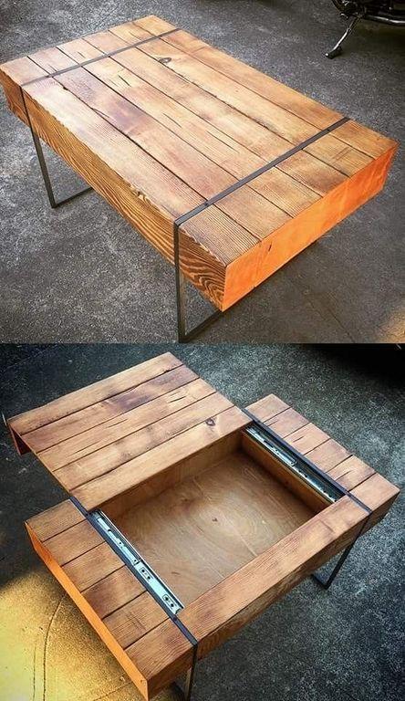 Konzepte zur Verbesserung des Couchtischs können diese unordentliche Tischplatte in ein Layout verwandeln, das … #WoodWorking