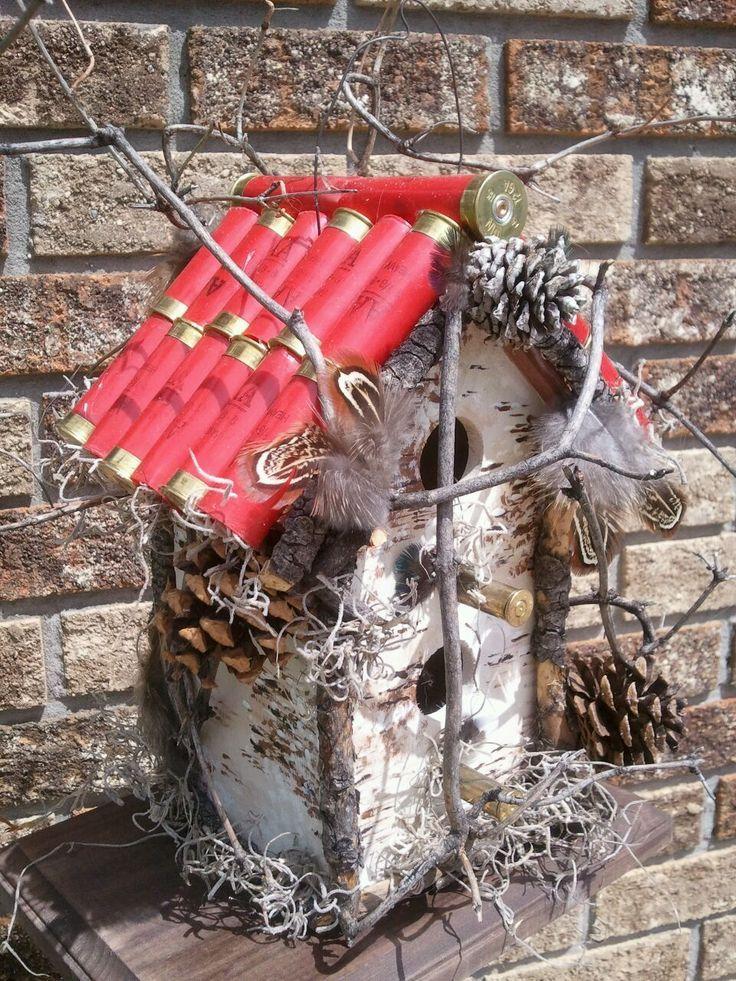 shotgun shell and pheasant feather birdhouse