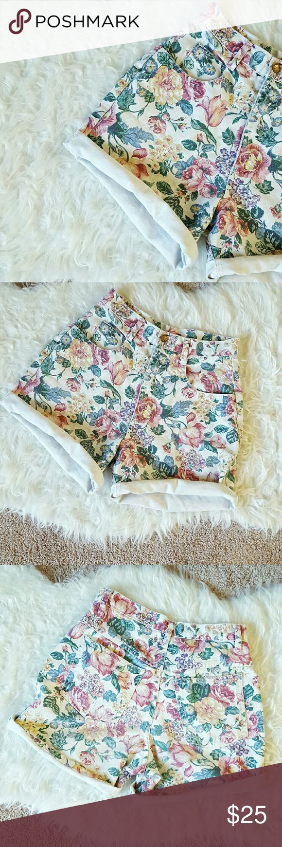 "High Waisted Vintage Floral Denim Shorts Channel your inner Kelly Kapowski in these awesome vintage shorts. High waisted, floral print on denim. Approx 3"" inseam that can be rolled to desired length, overall approx 18"" length. Excellent vintage condition, one small defect on back pocket (shown in last pic) that adds to the vintage charm. Vintage size 8, closer to modern M. Vintage  Shorts Jean Shorts"