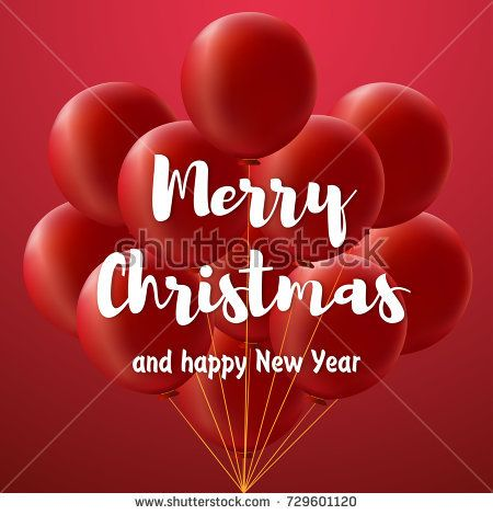 Merry christmas card The large white inscription Merry christmas and happy new year on red gradient background with bundle of big red balloons