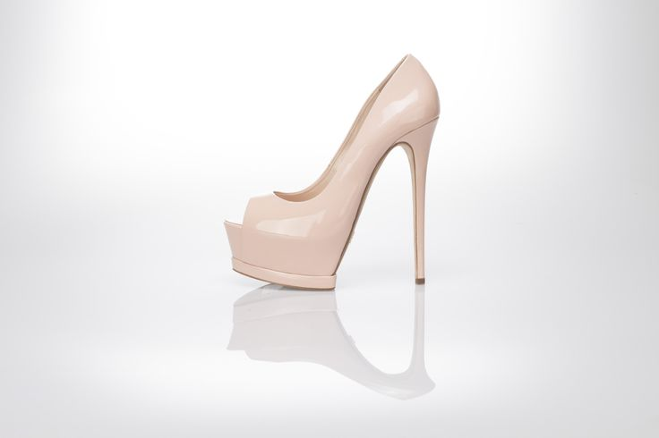Nude  patent leather pump open toe decollete 140 mm high heels by Gianni Renzi Couture