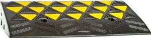 """Heavy Duty Reflective Rubber Curb Ramp by Discount Ramps. $49.99. The high density, heavy duty, 24 lb Reflective Curb Ramp is 11.8"""" L x 23.5"""" W x 3.9"""" H and can hold up to 30 tons (60,000 lbs). On the surface of the ramps are high visibility reflective triangles and ribbed treads for traction in all weather conditions.. Save 29%!"""
