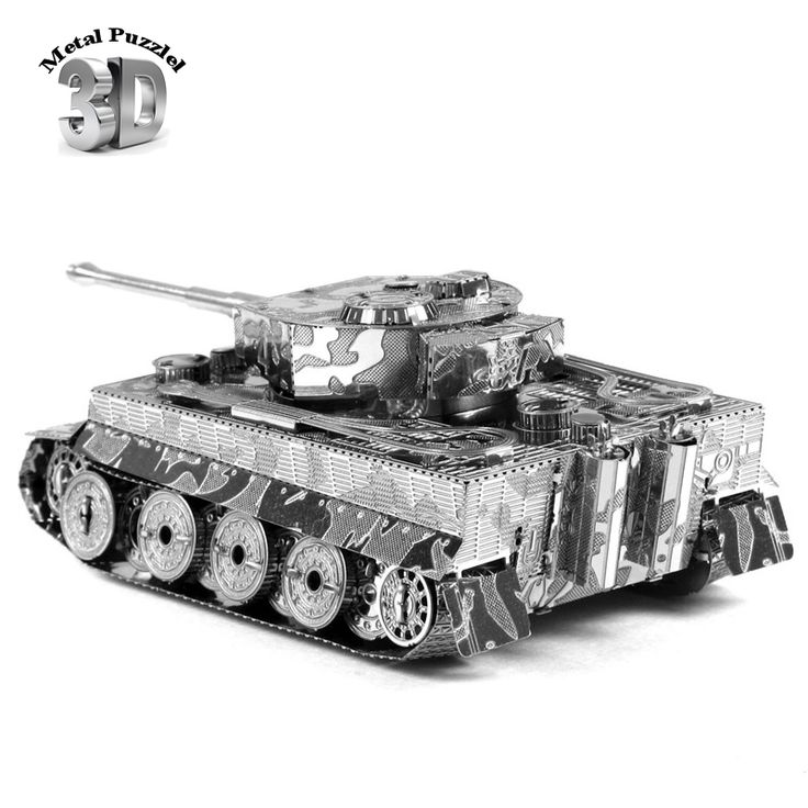 3D Metal Puzzles Miniature Model DIY Jigsaws Remote Car Silver Model Educational Toys Gift for Kids german ww2 Tiger Tank