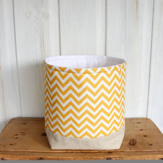Storage Basket Fabric Organizer Yellow Chevron    A lovely modern little soft storage container for keeping all your bits and bobs in around your