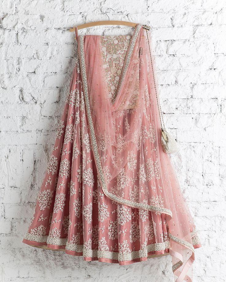 SwatiManish : Honey Suckle Pink With White Thread Work