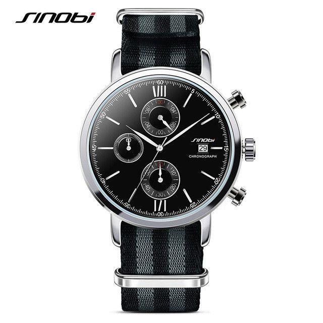 SINOBI Sports Chronograph Men Wrist Watches NATO Strap Nylon Watchband Luxury Military Males Geneva Quartz Clock James Bond 007