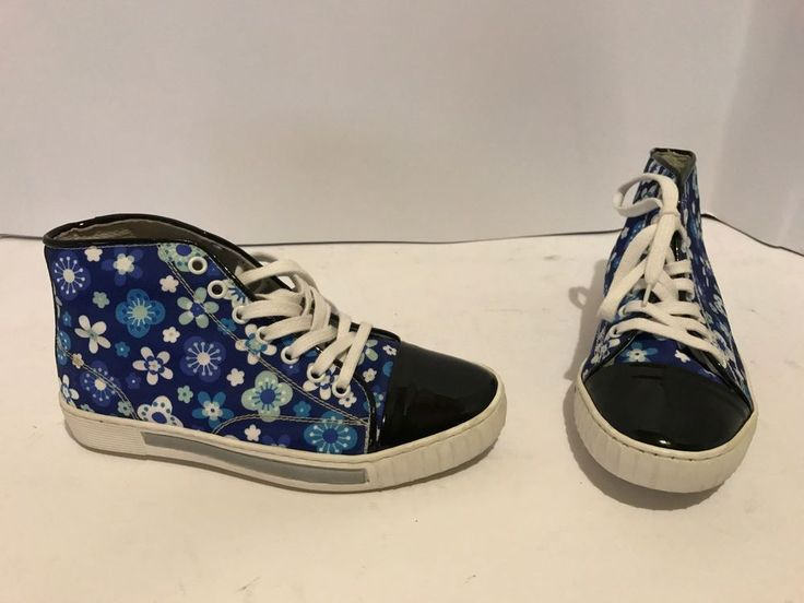 scarpe ginnastica sneakers salvo barone made in italy 36 vernice blu tela fiori