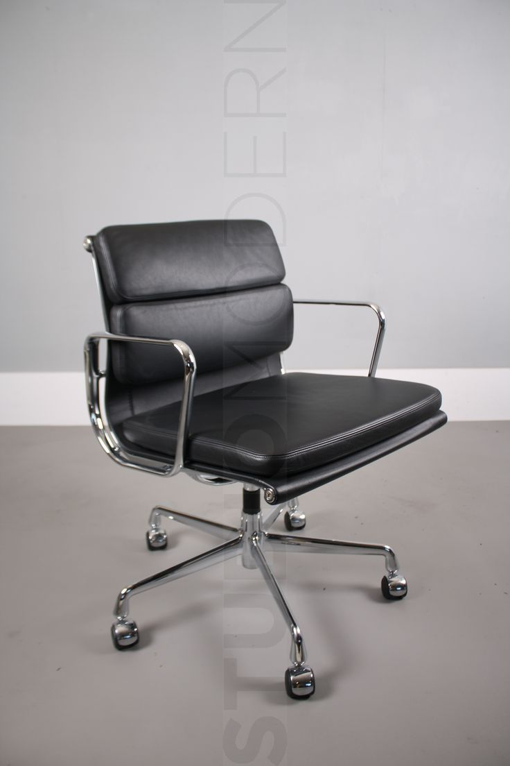 Vitra Charles & Ray Eames EA208 The frame of chair is chromed aluminum and the upholstery is black leather Condition: 7/10 This chair has some wear to corners. Please see photos