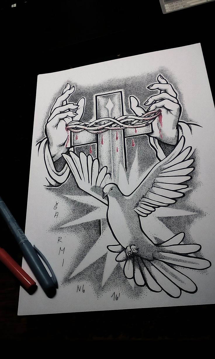 Dove of Christian peace! dotwork styl by Šarming