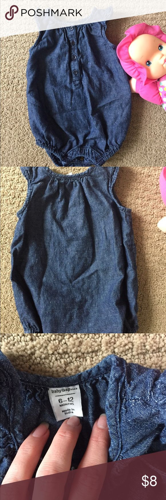 🍭 Baby girl denim romper 6-12 mos 🍭 Cute denim romper from Baby Gap has ruffled shoulders, button front, and snaps at crotch for easy dressing and changes. 6-12 mos. EUC Baby Gap One Pieces