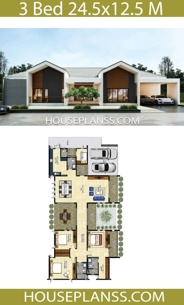 House Design Idea 24 5x12 5 With 3 Bedrooms House Plans 3d House Plans Duplex House Design Sims House Design