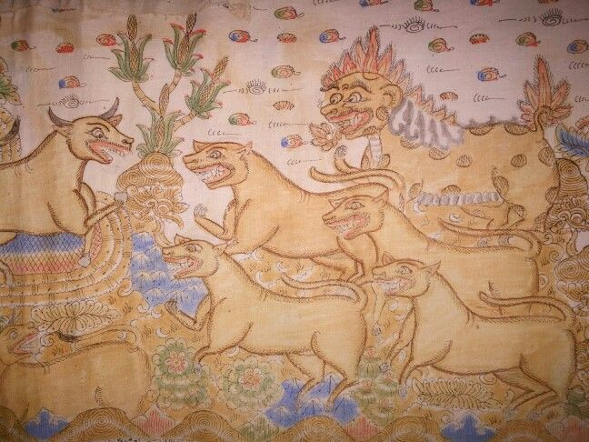 Old fragment of a Balinese Kamasan painting from an ider-ider temple hanging. www.kulukgallery.com