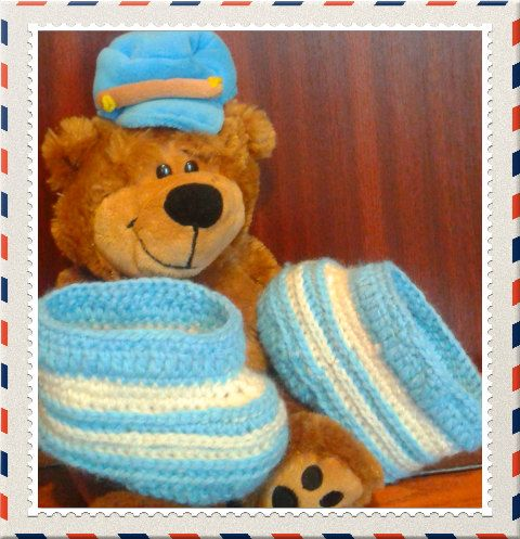Crocheted baby boy booties by AdeHandmade on Etsy