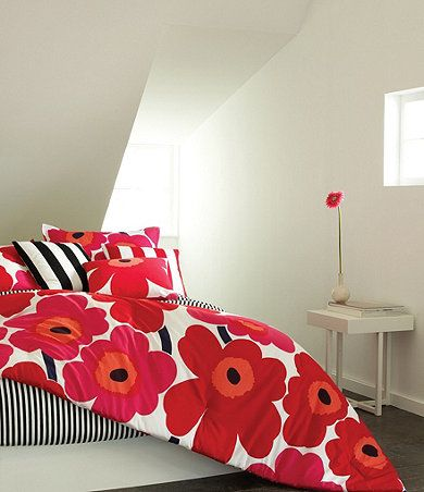 Add some flowers to your bedroom in true scandi style...Marimekko Unikko bedding.