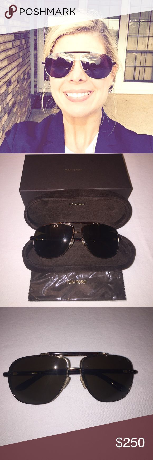 NWOT Tom Ford Adrian Metal aviator sunglasses Tom Ford sunglasses. Shiny dark brown Havana plastic frames. Shiny rose golden hardware and brown  roviex gradient lenses. Open nose bridge. Logo detail at inner temple. 100% UV protection. Made in 🇮🇹! Never worn. Tom Ford Accessories Glasses