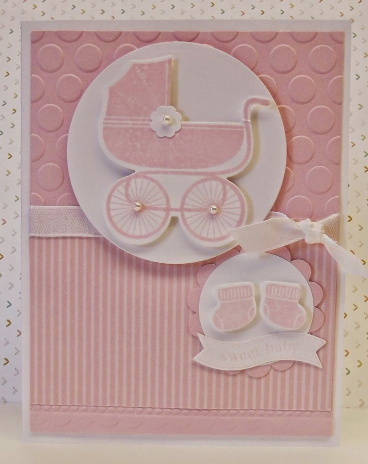 Baby Girl Card Making Ideas Part - 50: Today I Have A Baby Card, The Carriage Is Part Of The Stamp Set Something  For Baby Which Has Matching Framelit Dies. It Is Done Is Pink.