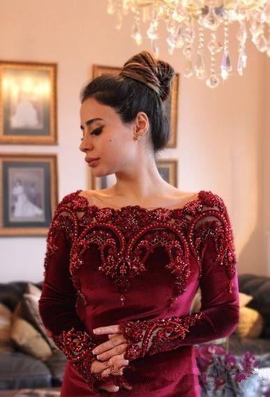 Fashion Boat Neck Burgundy Velvet Lace Crystal Beaded Long Sleeve Mermaid Prom Dresses 2017 Muslim Evening Dress