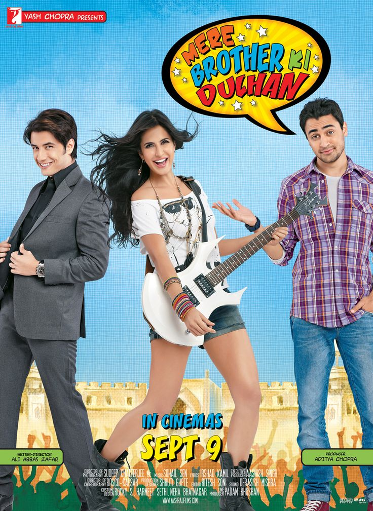 starcast : Imran Khan, Katrina Kaif, Ali Zafar director : Ali Abbas Zafar producer : Aditya Chopra music_director : Sohail Sen genre : Romance format : DVD label : Yash Raj language : Hindi year : 2011 Discs : 2 subtitle : English region : Region Free audio : 5.1 Dolby Digital rating : U http://www.clickoncart.com/Mere-Brother-Ki-Dulhan-DVD