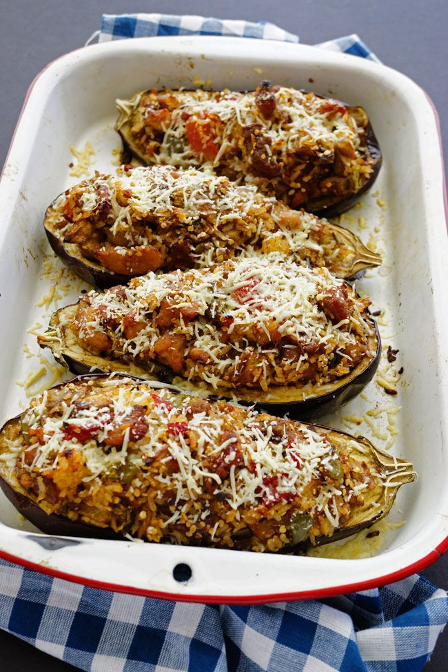 High protein and easy to make eggplant boats. Enjoy this one meal deliciousness.