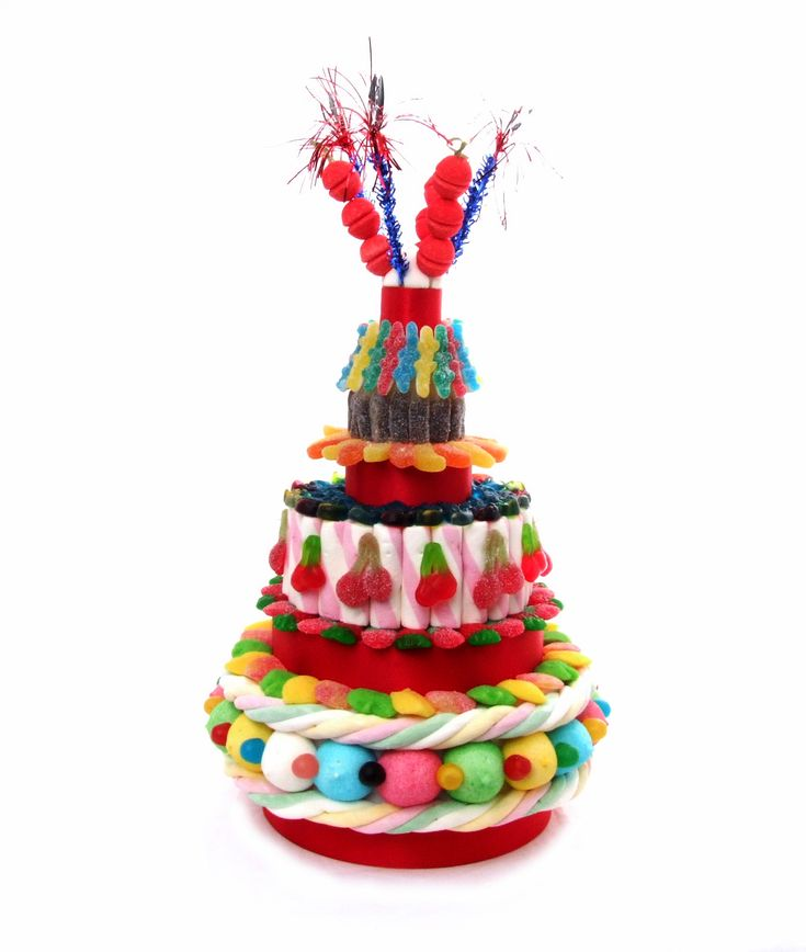 Gâteau de bonbons.  Vos papilles vont s'affoler dans un mélange sucré et acidulé. 220 bonbons environ.