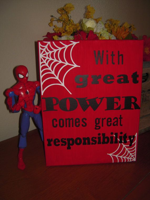Spiderman  with great power wall canvas by OwlBeCrafty on Etsy, $15.00