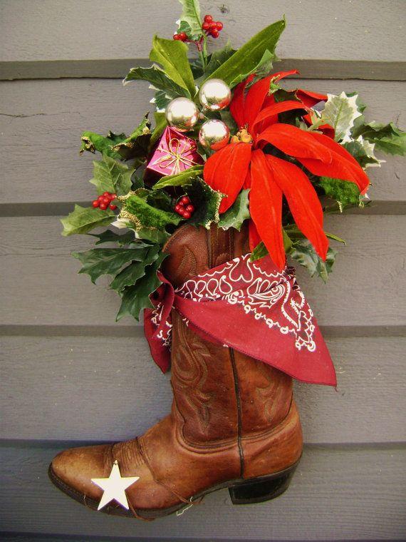 Cowboy Christmas Front Door Decor Boot Ranch Rusty  by junquegypsy,