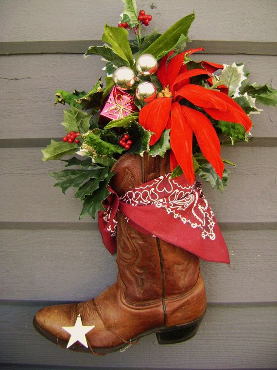 RESERVED For GRANDPA, Cowboy Christmas, Front Door Decor, Vintage Boot, Ranch, Rusty, Star, Repurpose Upcycle Holidays on the Ranch