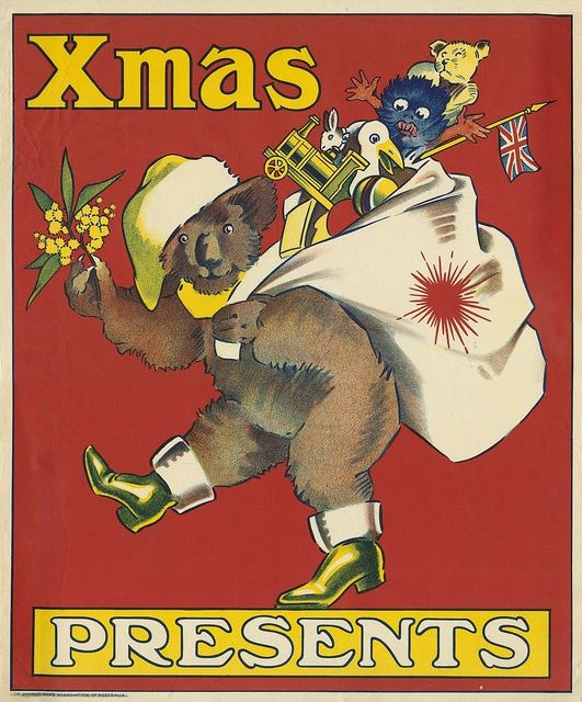 Christmas poster featuring a koala dressed in Santa hat and boots ca 1920 by State Library of Queensland