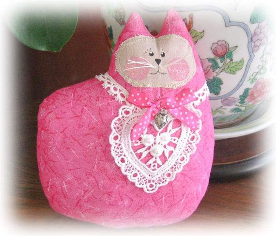 How To Make A Doll Decorative Pillow : Cat Pillow Doll, Cloth Doll, HOT PINK, Primitive Soft Sculpture Handmade CharlotteStyle ...