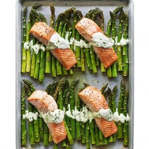 Broiled Salmon and Asparagus with Crème Fraîche | MyRecipes.com