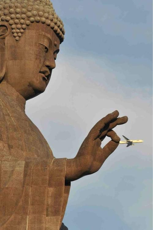 Buddha Grabbing A Plane | Here Are 50 Of The Most Perfectly Timed Photos Ever