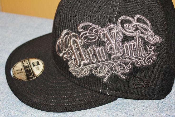 MLB New York Yankees New Era Cap Hat 59FIFTY Fitted Baseball  7 5/8 Black Grey #NewEra #NewYorkYankees