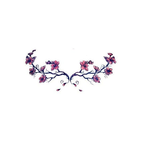 Japanese Cherry Blossom Tattoo Purple Flowers Branch ❤ liked on Polyvore featuring accessories