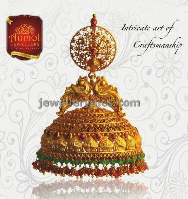 Big gold jumki buttalu design by Anmol jewellers - Latest Jewellery Designs