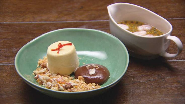 Passionfruit Semi-freddo with Chocolate Mousse, Coconut Crumb and Ginger Tropical Fruit Syrup