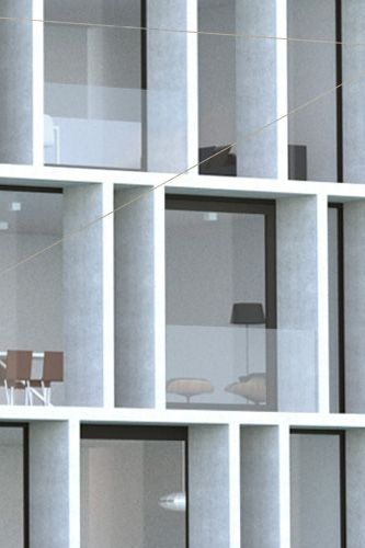 Collective Housing Project in Ghent Belgium by CAAN Architecten. White concrete. Expressed structure.