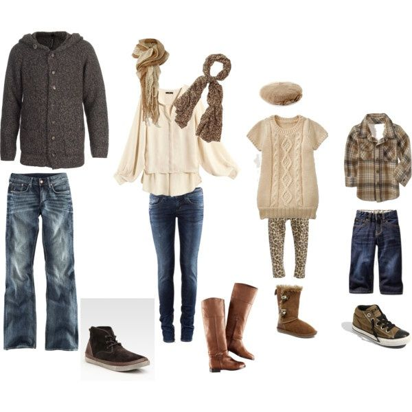 Denim, cream/tan, and brown