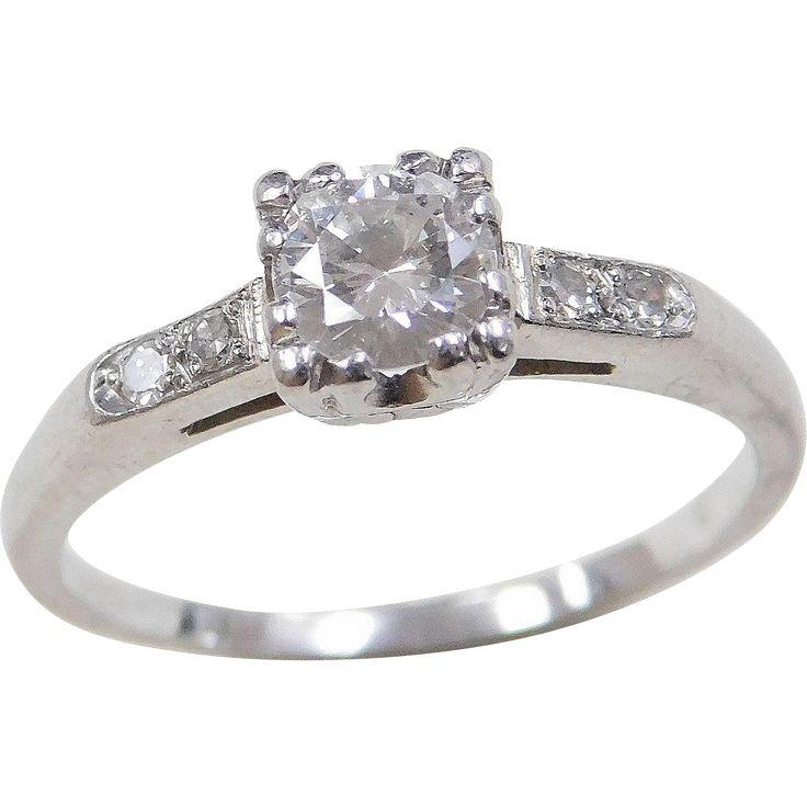 Art Deco Platinum .44 ctw Diamond Ring
